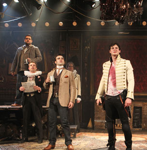 Benjamin Walker (right) and company in Bloody Bloody Andrew Jackson (© Joan Marcus)