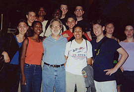 Writer John Weidman with young playwrightsat YPI's 2001 Urban Retreat