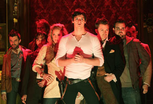 Benjamin Walker (center) and company in Bloody Bloody Andrew Jackson (© Joan Marcus)
