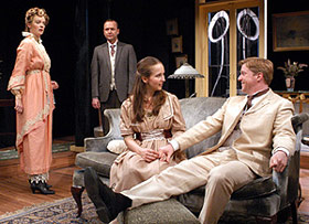 Kristin Griffith, Benjamin Howes, Harmony Schuttler,and Karl Kenzler in The Charity That Began at Home(Photo: Richard Termine)
