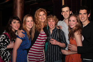 Kristen Johnston (third from left) with Psycho Beach Party cast (© Pipeline Theatre Company)