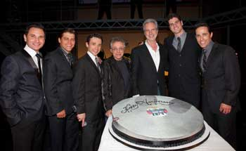 Travis Cloer, Deven May, Rick Faugno, Frankie Valli, Bob Gaudio,Peter Saide, and Jeff Leibow