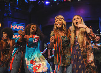 Kelly Ripa with the cast of Hair