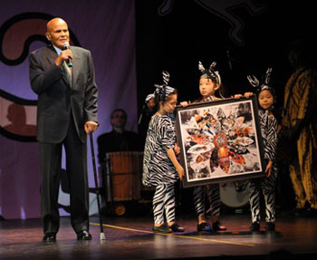 Harry Belafonte accepting his award