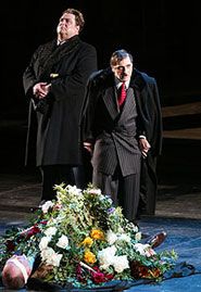 John Goodman, Al Pacino, andPaul Giamatti (lying on the ground)in The Resistible Rise of Arturo Ui(Photo: Joan Marcus)