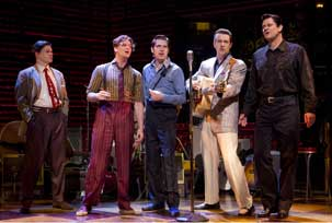 Hunter Foster, Levi Kreis, Robert Britton Lyons, Eddie Clendening, and Lance Guest in Million Dollar Quartet