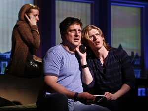 Susan Blackwell, Christopher Sieber, and Lucas Steele