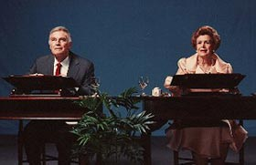 Charlton Heston and Lydia Clarke in a 1992 productionof Love Letters, the frequently performed play thatproves a Halloween opening isn't a curse
