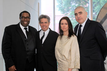 Eric Owens, Elliot Goldenthal, Julie Taymor, and Alfred Molina (© Gerry Goodstein)