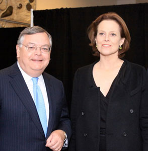 TFANA Board member Bill Lloyd with Sigourney Weaver