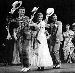 Harvey Hohnecker (now Harvey Evans), Gwen Verdon,and Harvey Jung in New Girl in Town