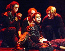 Mount Greylock High School students Amanda Bell,Lily Waters, Mike Wartella, and Nate Fowler perform Henry VI, Part I as part of the 2001 Fall Festival.