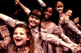 Jaclyn M. Neidenthal, Ashlee Keating, Ivana Grace,Molly Jobe, Addison Timlin, and Chiara Navarra in Annie(Photo: Gerry Goodstein)