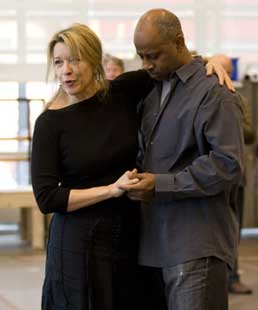 Linda Emond and Ruben Santiago-Hudsonin rehearsal for The Winter's Tale