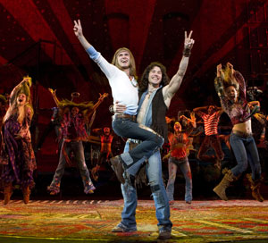 Kyle Riabko and Ace Young with the Tribe from Hair