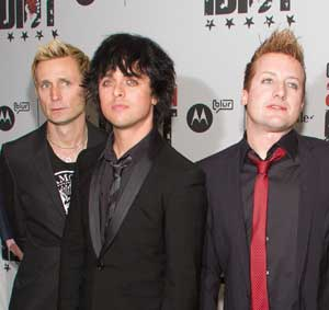 Green Day's Mike Dirnt, Billie Jo Armstrong, and Tre Cool