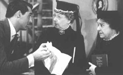 Cary Grant, Jean Adair, and Josephine Hull in thefilm version of Arsenic and Old Lace