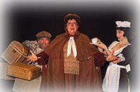 Evalyn Baron (center) with Will Bigham (l)and Karen Sabo (r) inSomething's Afoot at the Barter Theatre