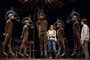 Sam Underwood (right) and the company of Equus