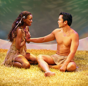 Krystal Joy Brown and Jose Llana in Falling For Eve