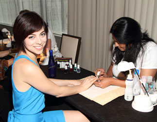 Krysta Rodriguez gets her nails done