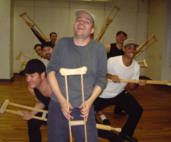 """Tiny Tim and his Teeny Tiny Tappers rehearse""""Abundance and Charity"""" for the NYCGMC concert(Photo: H.E. Yhoman)"""