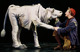 Chad Kimball as pet cow (and potential steak dinner)Milky White opposite Adam Wylie's Jack in Into the Woods(Photo: © Joan Marcus)