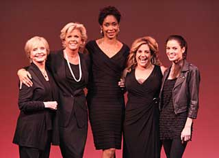 Florence Henderson, Meredith Baxter, Gina Torres,Marissa Jaret Winokur, and Paula Christensen in Love, Loss, and What I Wore (© Michael Lamont)