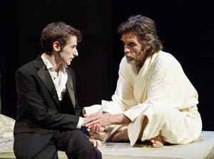 Noah Robbins and John Glover in Secrets of the Trade (© James Leynse)