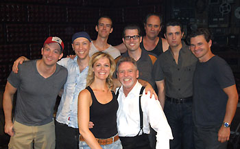 Larry Gatlin with the cast and band members of Million Dollar Quartet