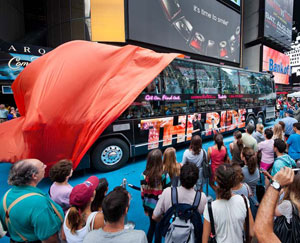 One of the vehicles for The Ride at the Times Square unveiling on August 12 (© Marc Bryan-Brown)