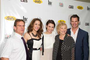 Peter Scolari, Andrea Grano, Christy Carlson Romano, Betty Buckley, and Tuc Watkins at the opening of White's Lies