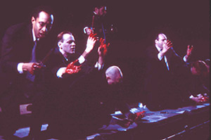 Michael Rogers, Justin Campbell, Thomas M. Hammond,David Don Miller, Daniel Oreskes, and Simeon Mooreas the bloody conspirators in Julius Caesar(Photo: Gerry Goodstein)