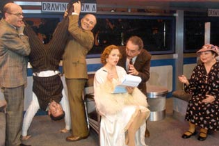 Robert Picardo, Damon Kirsche, Dan Butler, Carolee Carmello,Bob Gunton, and Mimi Hines in On the Twentieth Century(Photo: Tom Drucker)