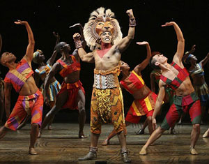 Andre Jackson and company in The Lion King