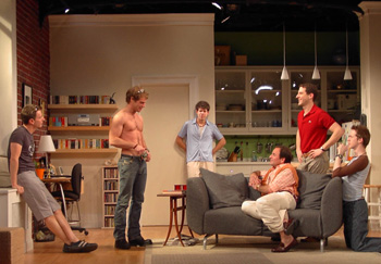 (l-r) Arnie Burton, Matthew Wilkas, Johnathan McClain, Donald Corren,Peter Smith, and David Turner in The Last Sunday in June(Photo: Robert Carey)