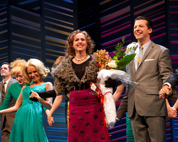 Kristin Chenoweth, Molly Shannon, and Sean Hayes at the October 12 curtain call for Promises, Promises
