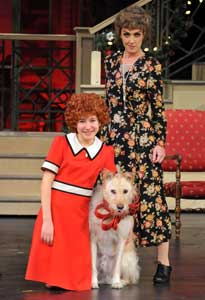 Melody Hollis, Andrea McArdle,and Mikey in Annie