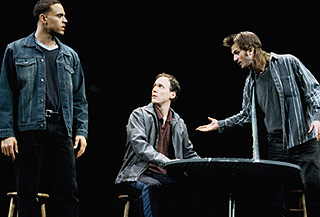 Daniel Sunjata, Neal Huff, and Frederick Wellerin Take Me Out(Photo: Joan Marcus)