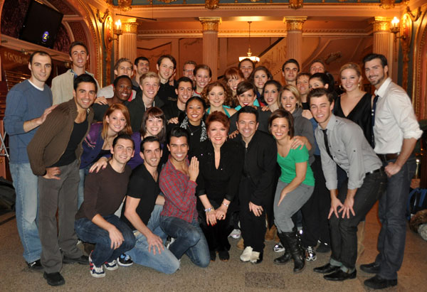 Donna McKechnie (center) with the company of A Chorus Line