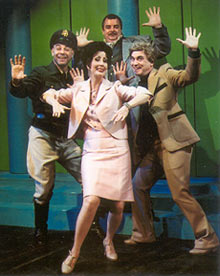 Ruth Williamson (front), with(l to r) Jay Willick, Joe Hart, andIra Denmark in Anyone Can Whistle(Photo: Ed Krieger)