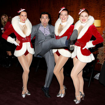 Mario Cantone with the Radio City Rockettes
