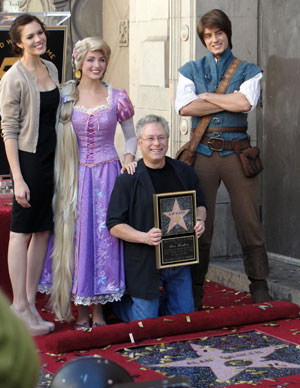 Mandy Moore, Rapunzel, Alan Menken, and Flynn Ryder