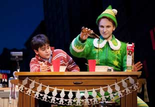 Matthew Gumley and Sebastian Arcelus in Elf
