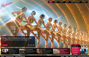 A screen shot of Rockettes.com