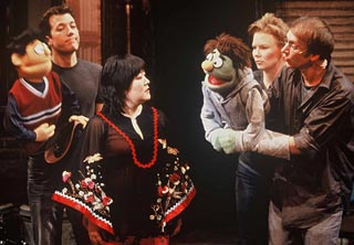(l to r) Princeton, John Tartaglia, Ann Harada, Nicky,Jen Barnhart, and Rick Lyon in Avenue Q