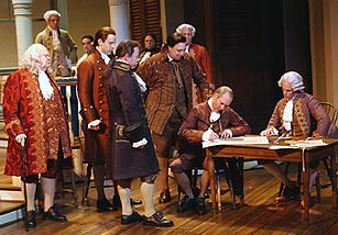 The founding fathers sign the Declaration of Independence in 1776