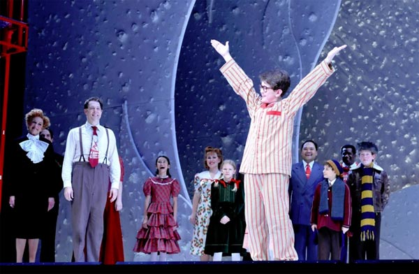 Clarke Hallum and company at the curtain call for A Christmas Story: The Musical