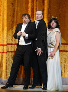 Hamish McColl, Sean Foley, and Toby Jonesin The Play What I Wrote(Photo: © Joan Marcus)