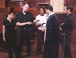 Seth Duerr (second from right) in the York ShakespeareCompany production of Timon of Athens